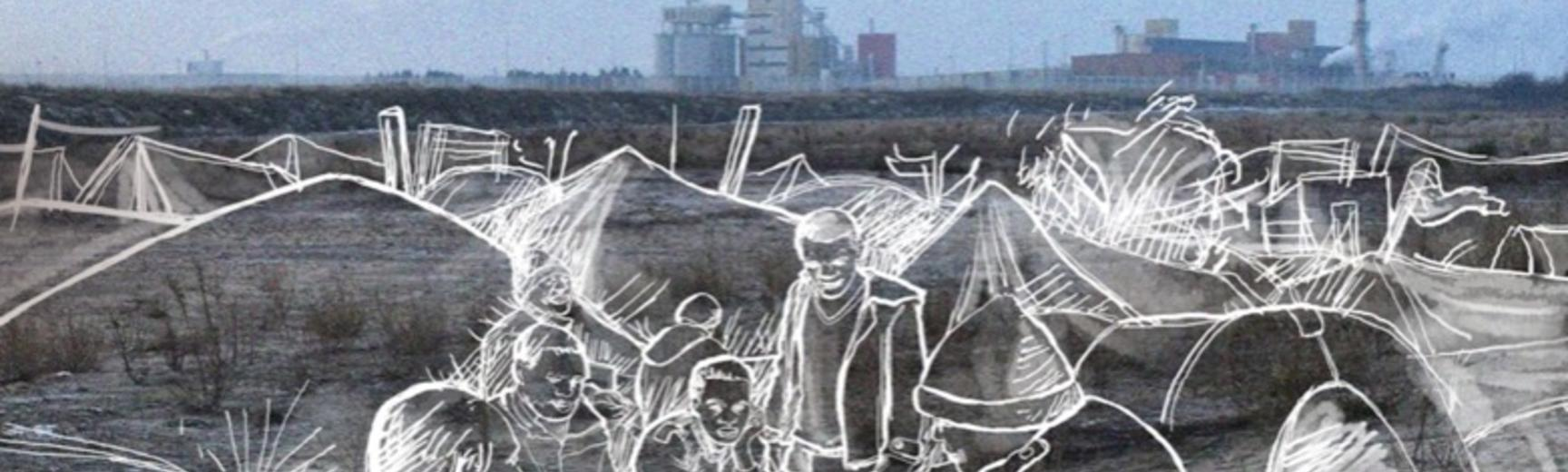 Dan Hicks and Sarah Mallet, Lande: The Calais 'Jungle' and Beyond (Bristol: Bristol University Press, 2019). ISBN 978-1-5292-0787-3. Book cover illustration by Majid Adin.
