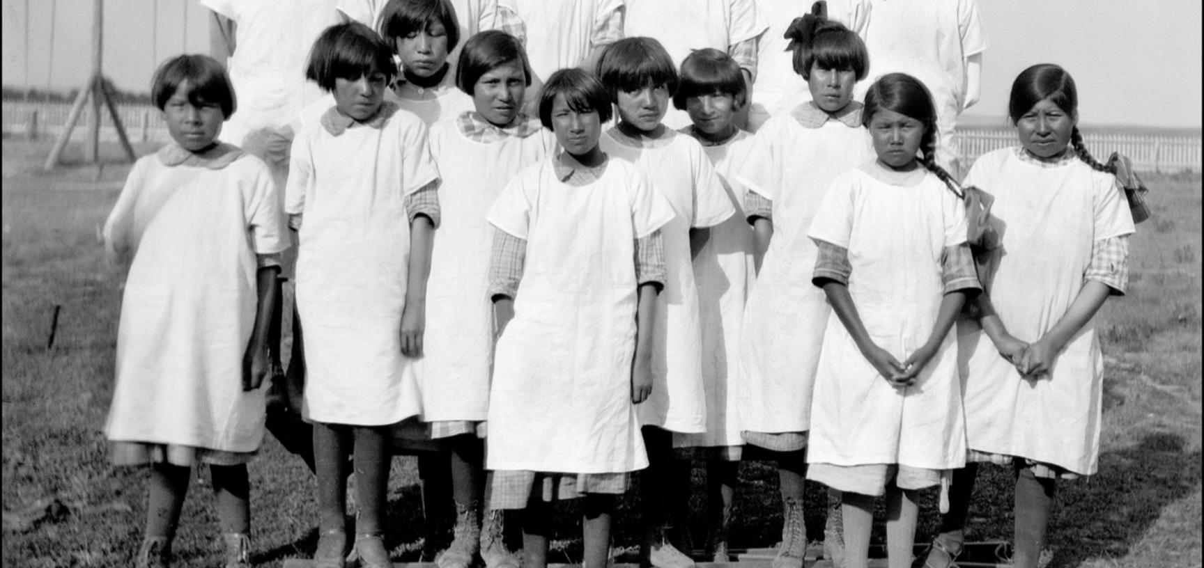 Kainai (Blackfoot) girls, St. Mary's residential school, Alberta, Canada, 1925. [1998.442.82]