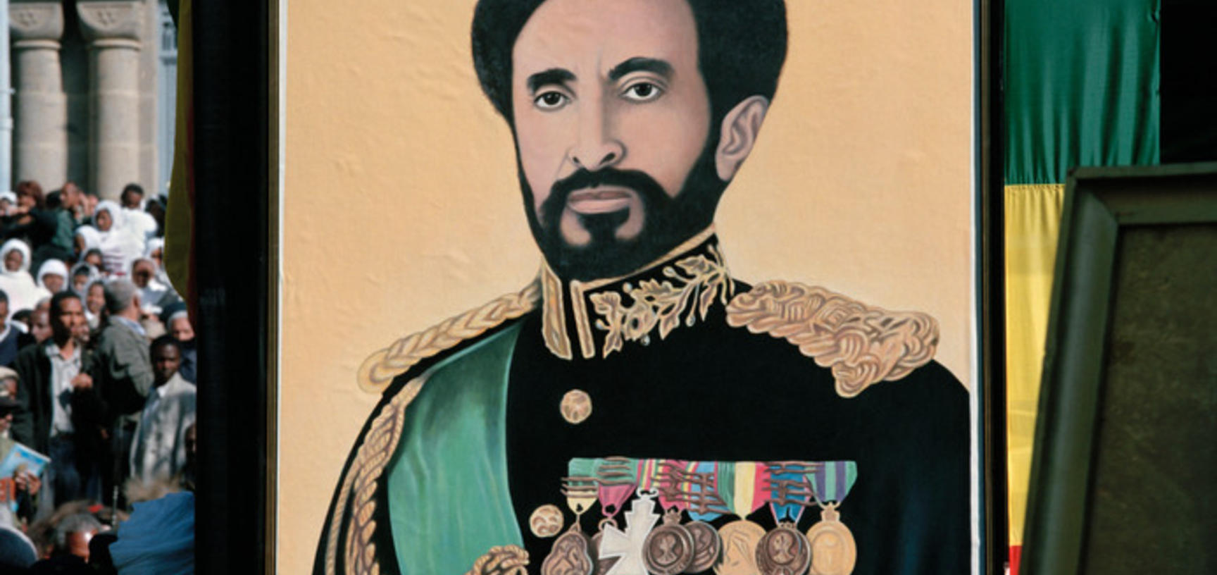 A portrait of Emperor Haile Selassie, displayed as part of the funeral cortège. Addis Ababa, Ethiopia. Photograph by Peter Marlow. 2000.