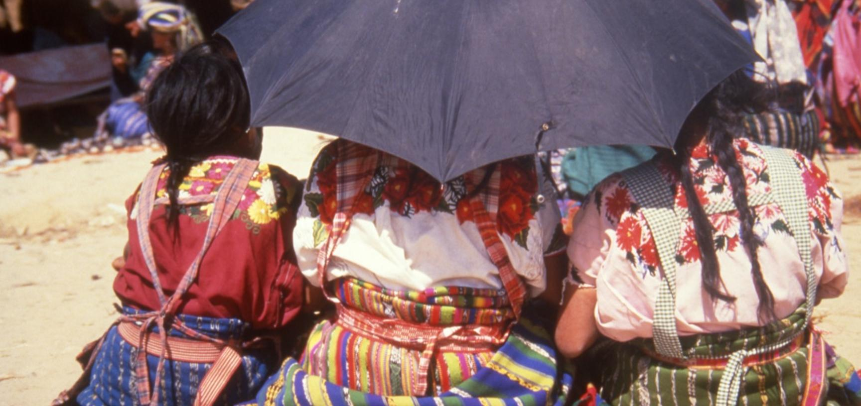 Girls at a market in Chichicastenango, Guatemala. Photo by Sheila Paine 1991.