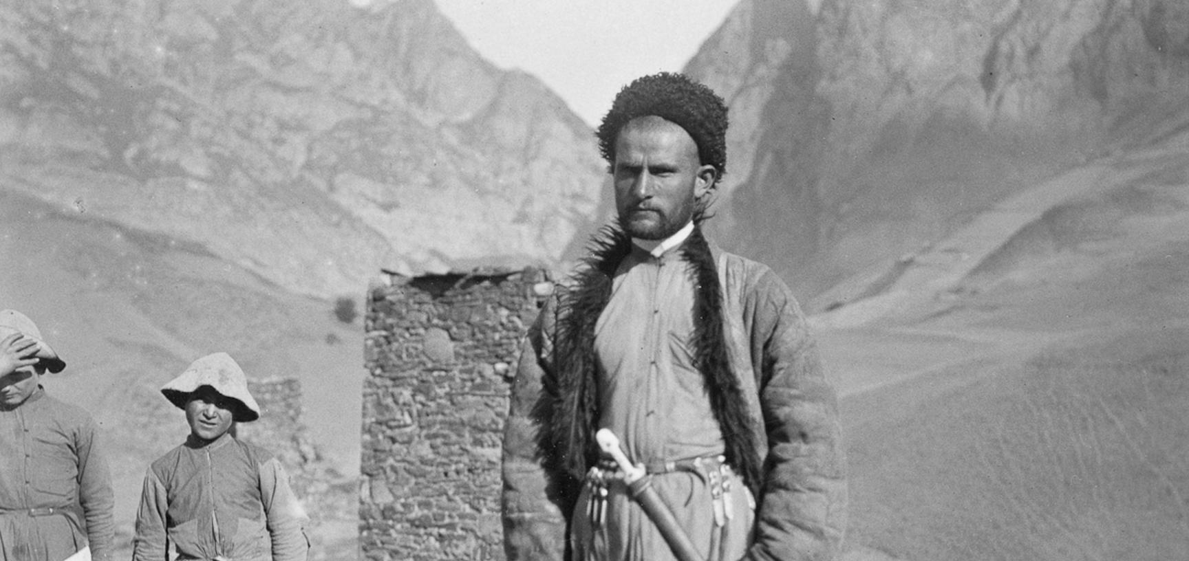 Man in the mountain village of Gornaya Saniba in the western Caucasus. Photograph by John Baddeley. Gornaya Saniba, Republic of North Ossetia-Alania, Russia. August 1902.