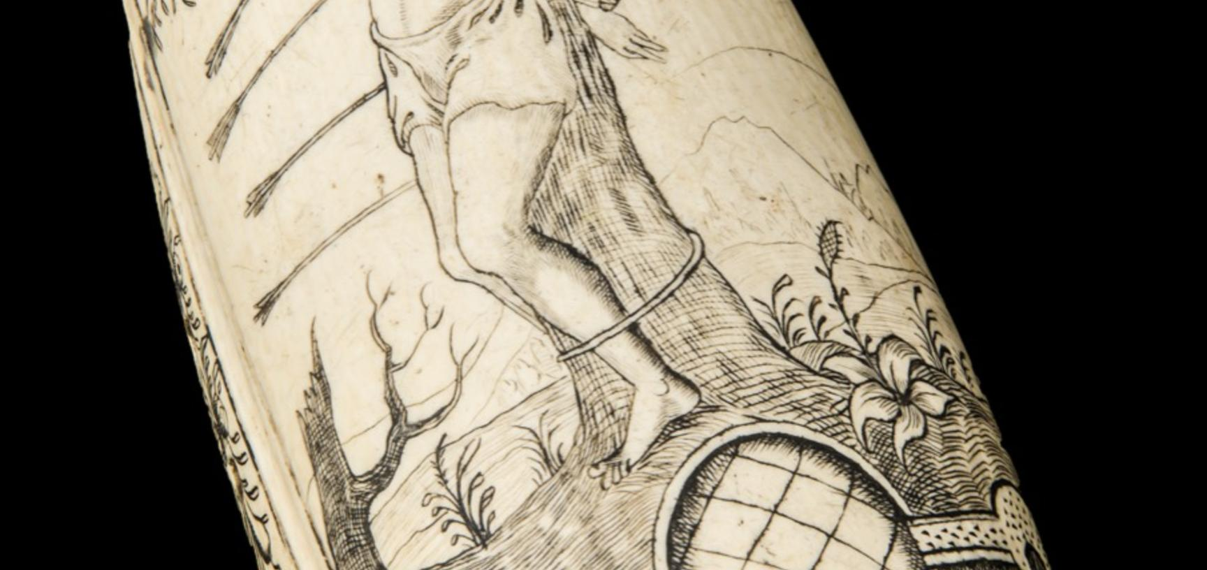 Curved sheet of ivory incised with image of St Sebastian tied to a tree and infilled with black ink.