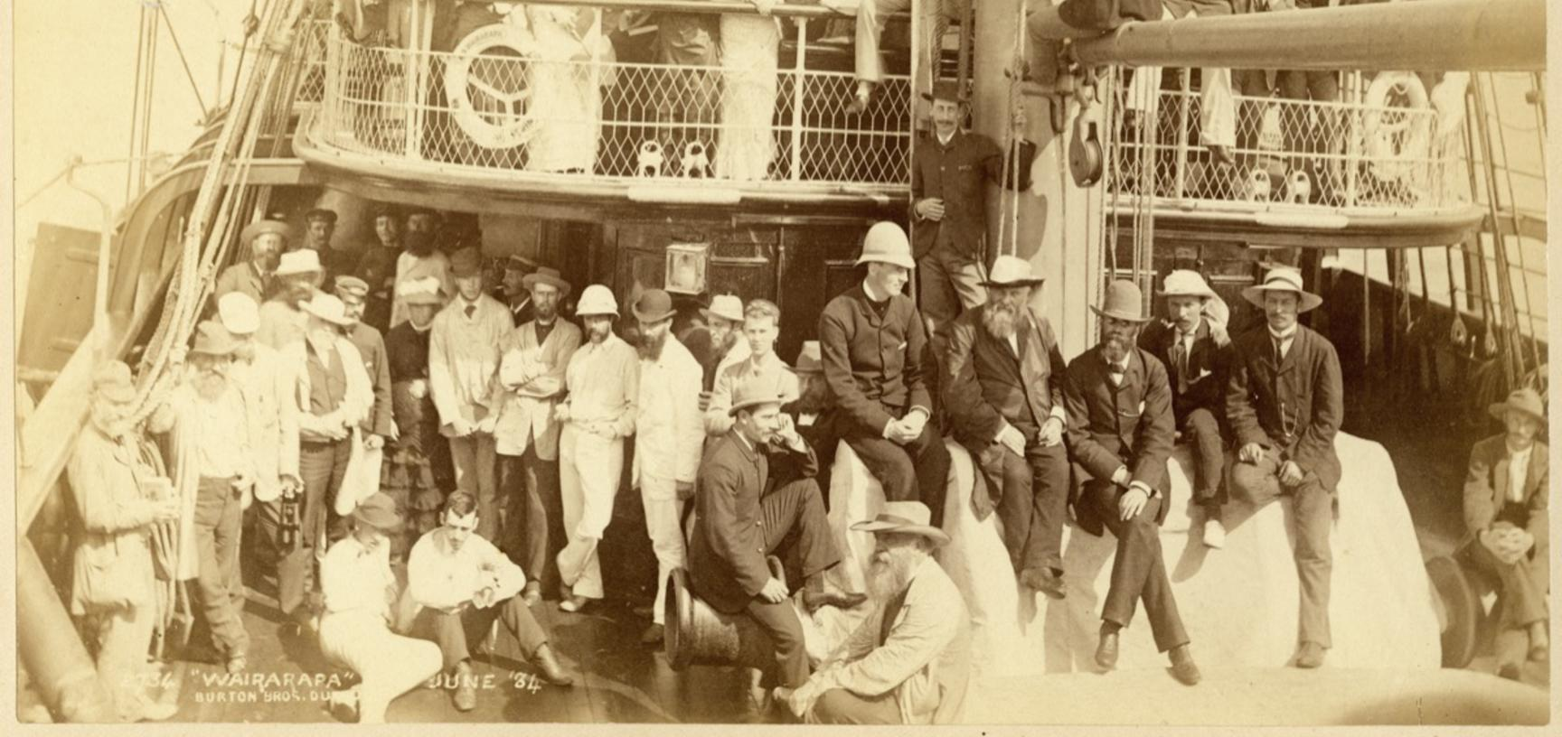 Passengers on board the deck of the S.S. Wairarapa, the Union Line steamship which in June and July 1884 made two voyages to the South Seas. Photograph by Alfred Burton for the Burton Brothers studio (Dunedin). June 1884.