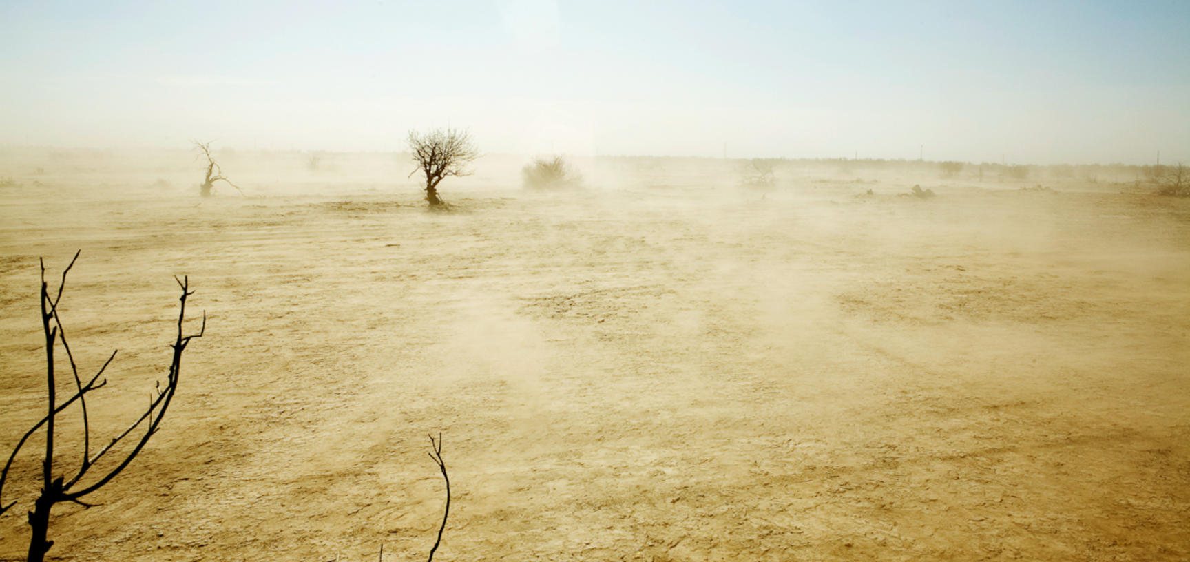 Desert and dust storms have spread over former wetlands near the Aral Sea, which has been reduced to a quarter of its previous size. Near Muynaq, Uzbekistan. Photograph by Carolyn Drake. March 2008.