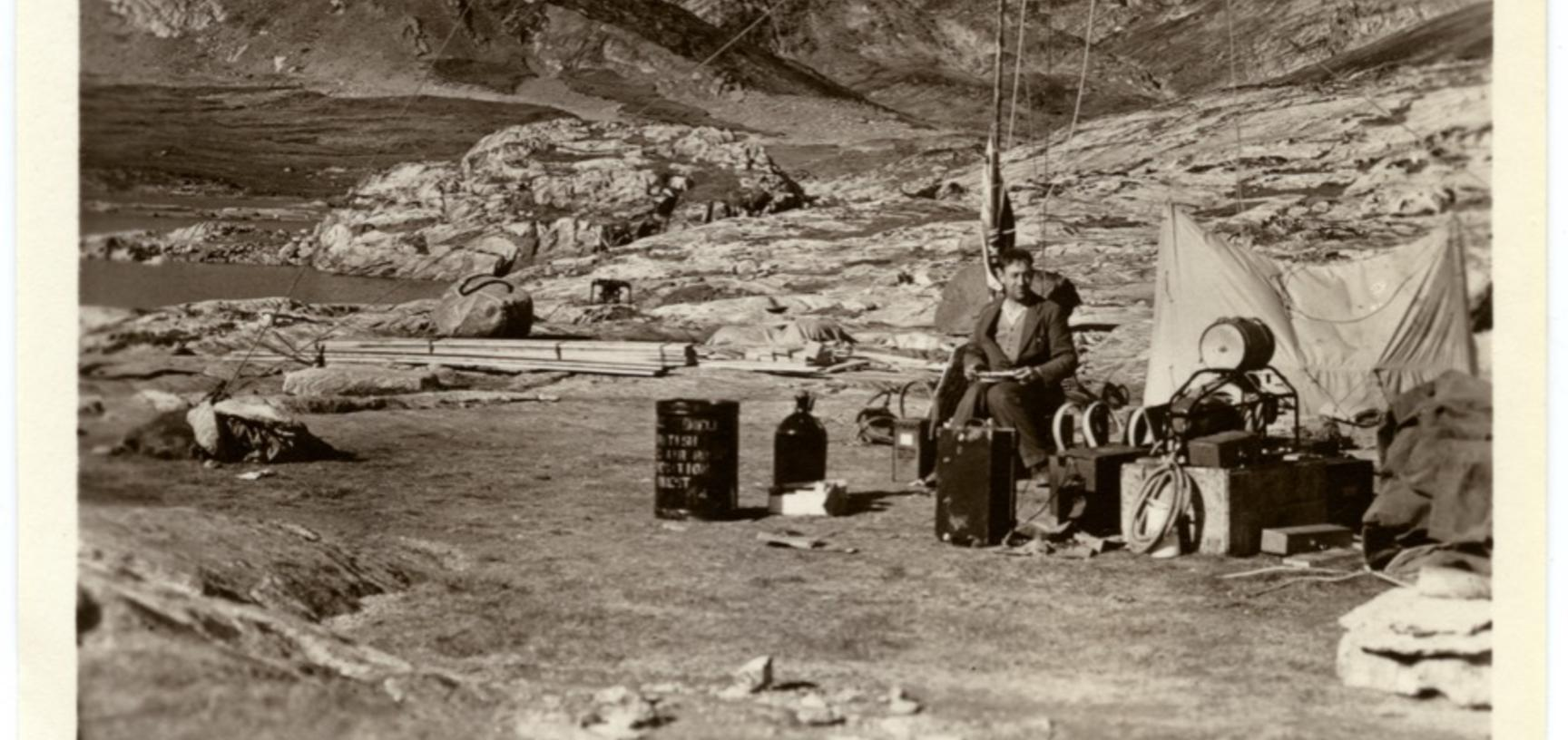 A member of the expedition party working outside. Photographer unknown. Greenland. 1930–1931.