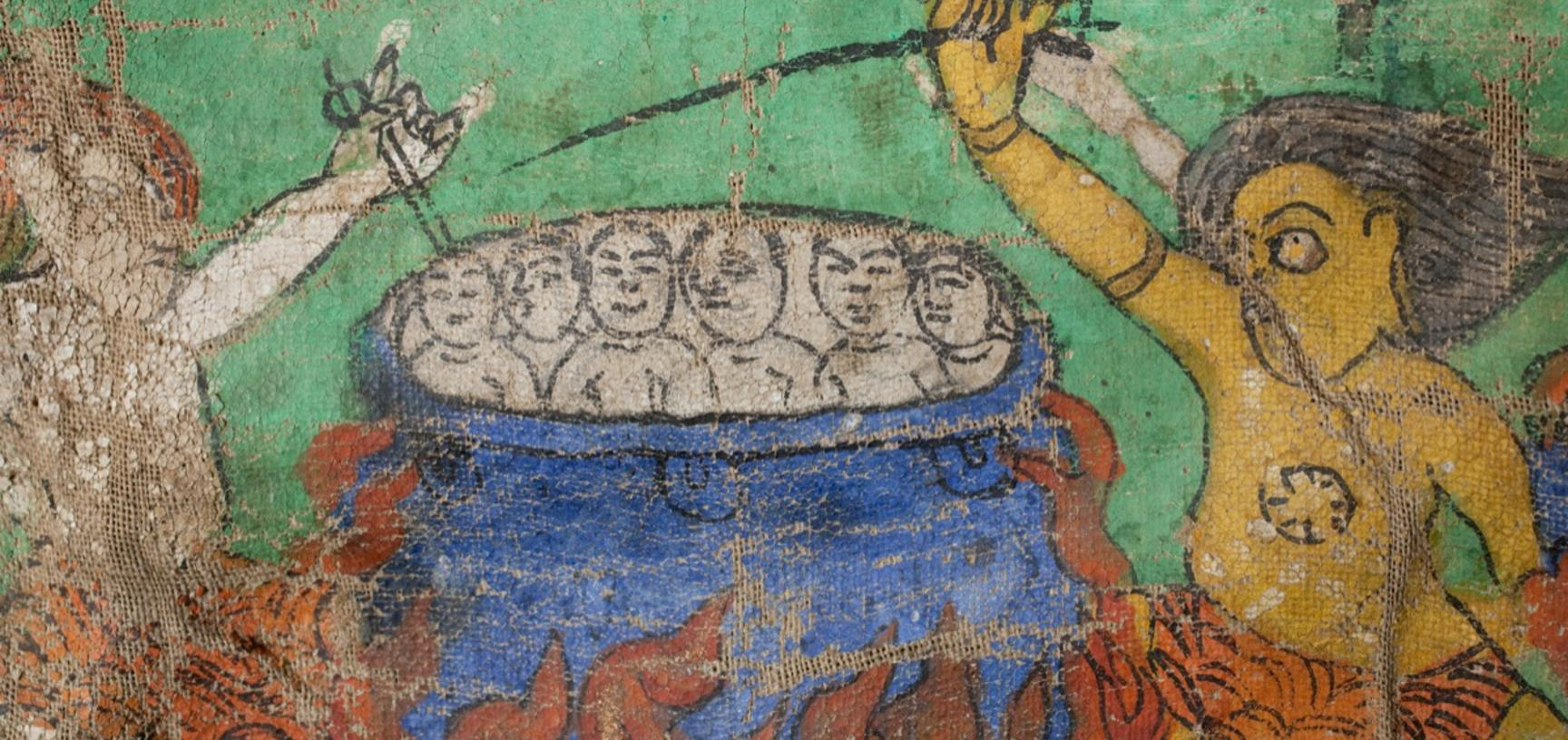 Detail of victims being boiled alive from a thanka painting describing the torments of hell. Photograph by Patrick Sutherland. Pin, Spiti, Himachal Pradesh, India. 2010.