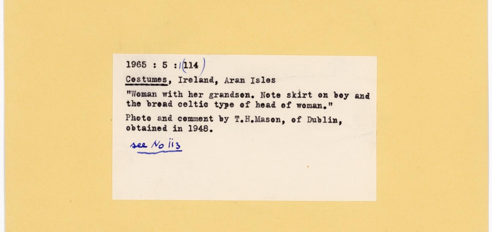 Reverse of the previous index card, showing Ellen Ettlinger's typed label with notes and attribution.