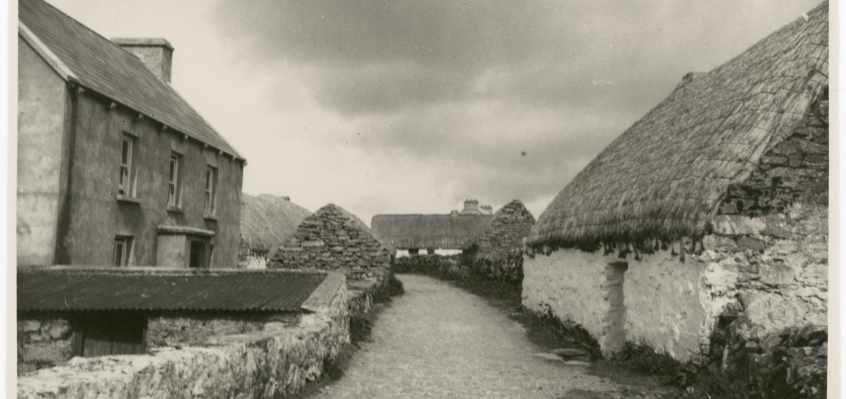 'Thatched cottages on Aran Isles' (typed caption). Photograph by Ingegärd Vallin. Aran Islands, County Galway, Ireland. 1949.