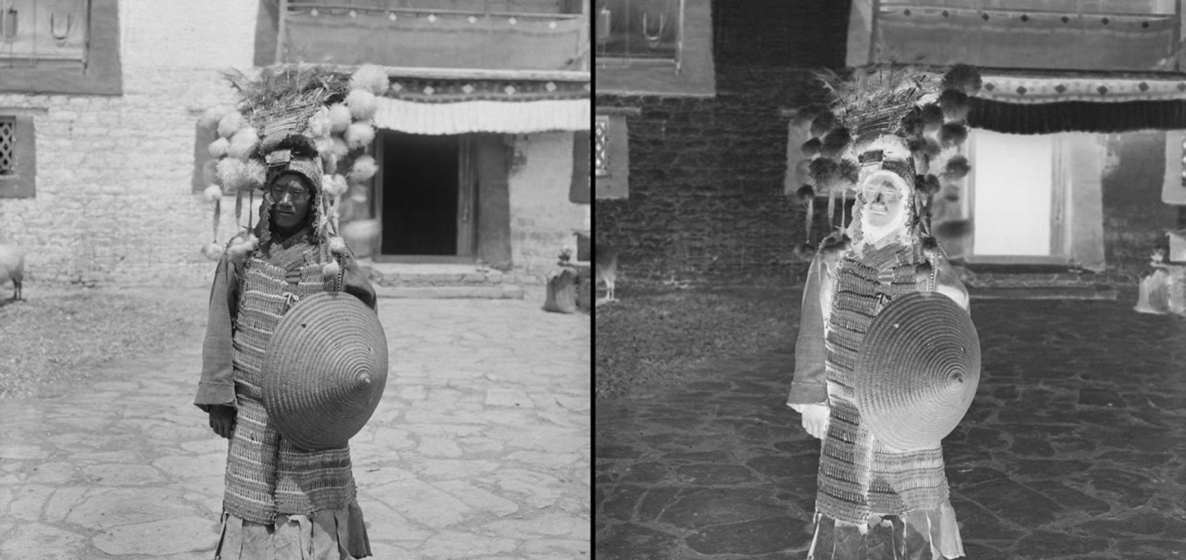Tibetan foot soldier, with old-style armour and shield. Photograph by Rabden Lepcha. 1921.