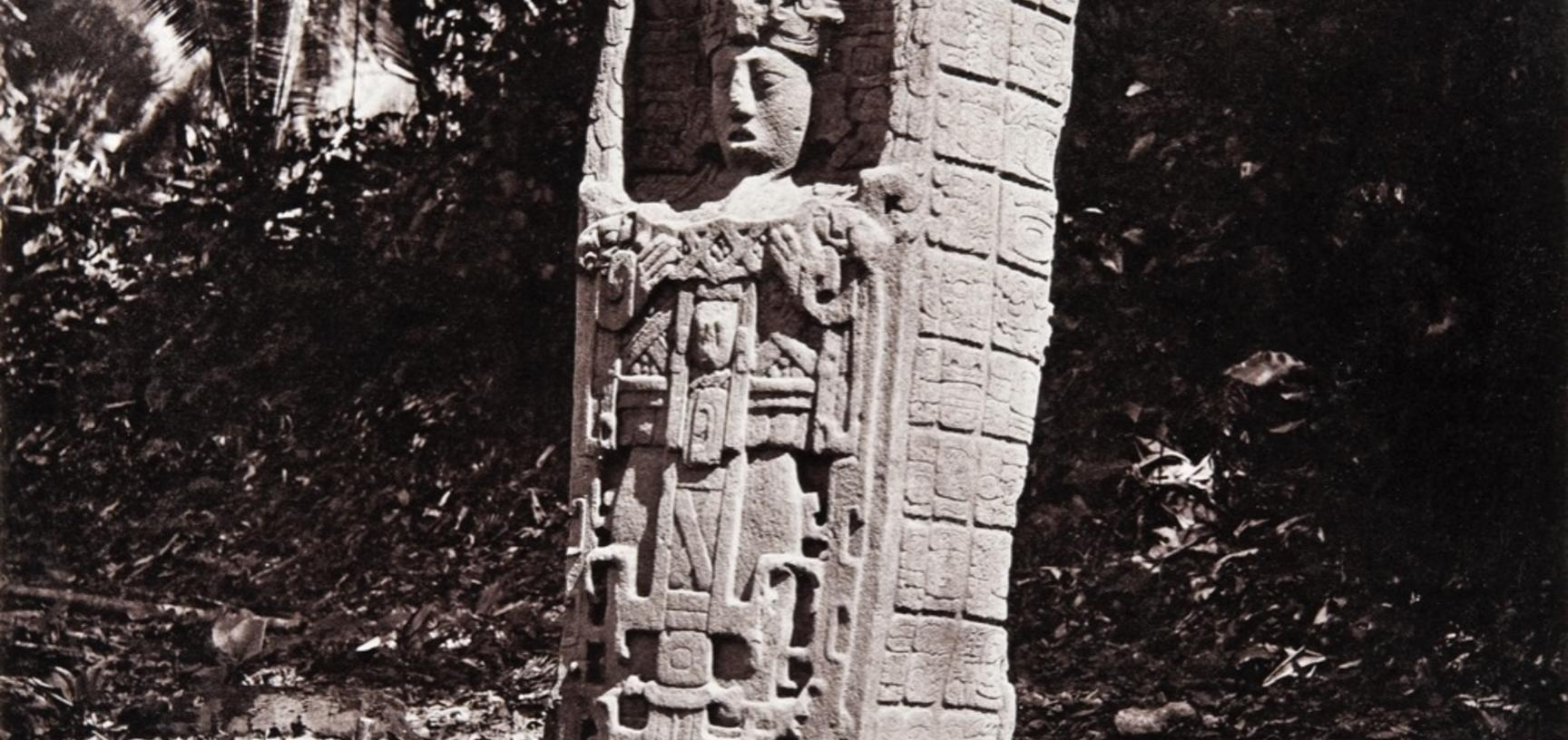 Stela C (also known as Monument 3), dated AD 775. The south face of this monument depicts the ruler K'ak' Tiliw Chan Yopaat wearing a costume which includes elements associated in Maya iconography with warfare, a reference to the leader's military prowess