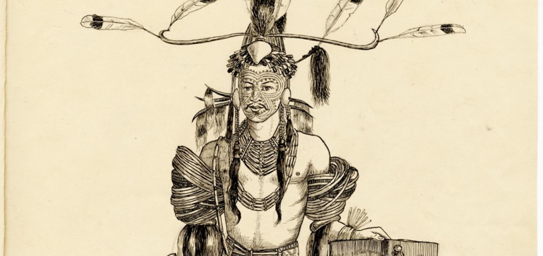 'Soibang, Vangam of Chopnu (Bor Mutan)' (handwritten caption). Portrait of a Konyak Naga man named Soibang, the chief or headman (vangam) of the village of Chopnu (Bor Mutan) in the Naga Hills District of Assam (now in Nagaland), India. Ink drawing by Rob