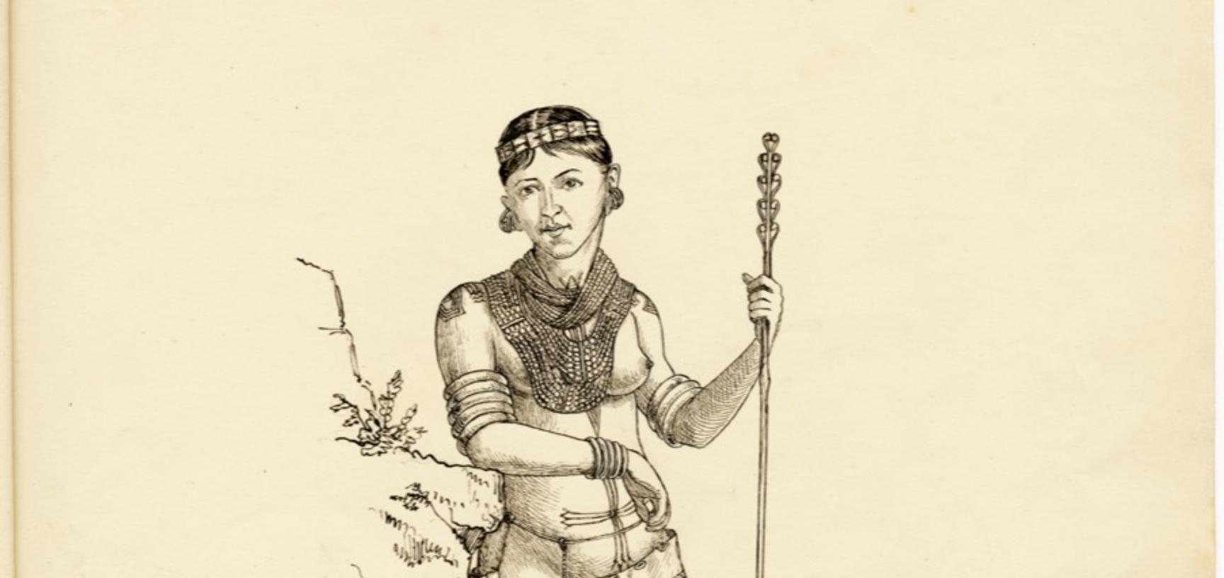 'Phemi – wife of Soibang' (handwritten caption). Portrait of a Konyak Naga woman named Phemi, the wife of Soibang, chief of Chopnu in the Naga Hills District of Assam (now in Nagaland), India. Ink drawing by Robert Gosset Woodthorpe. 1875. (Copyright Pitt