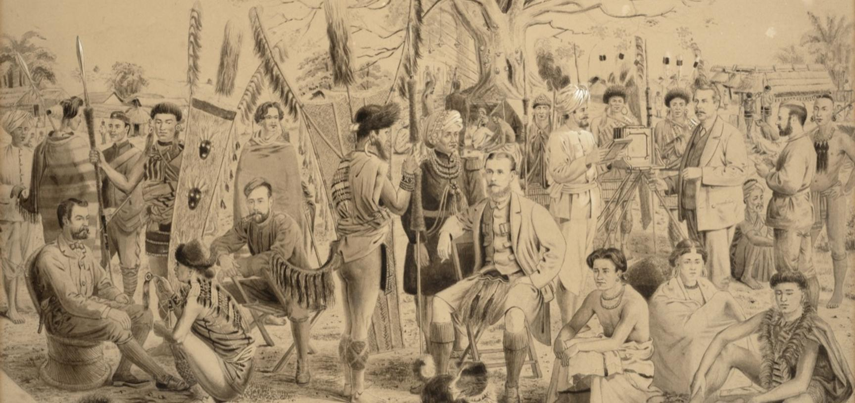 'Submission of Naga Chiefs' (handwritten caption or title). This original painting, from which various copies derive, shows at its centre Captain John Butler, the British administrator in charge of the Naga Hills District, while also portrayed (standing b