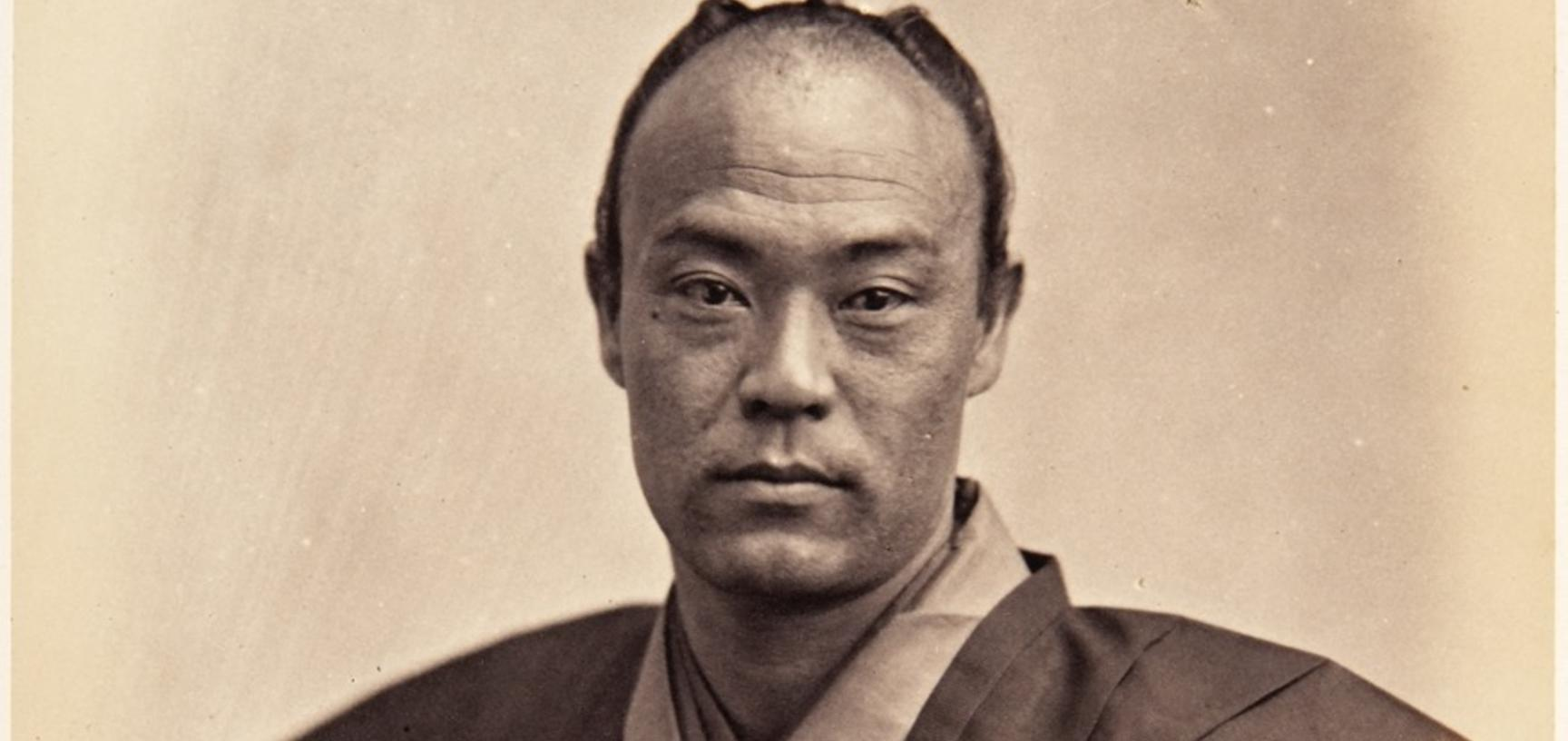 Portrait of Jirōtarō Saitō, thirty-four-year-old samurai and censor on the Ikeda mission to France, pictured wearing traditional dress and carrying a long sword (katana). Photograph by Jacques-Philippe Potteau. Paris, France. 1864. (Copyright Pitt Rivers