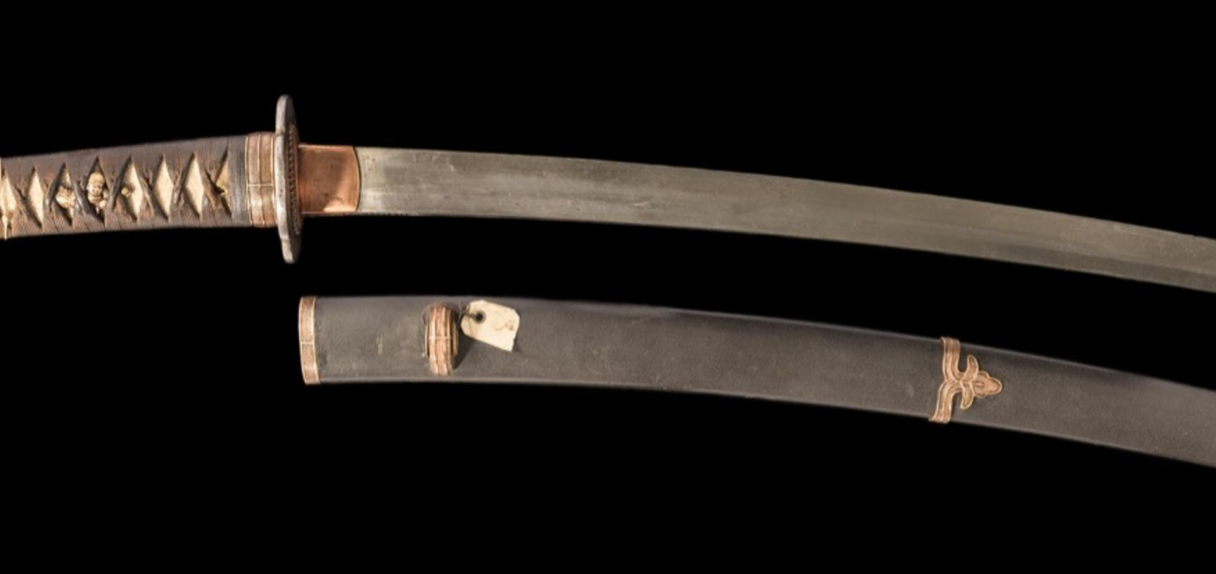 Wakizashi, or Japanese short sword, typically carried by samurai as one of a pair of blades (daishō). This sword was part of Lieutenant-General Pitt Rivers' founding collection, originally displayed in Bethnal Green Museum and transferred from South Kensi