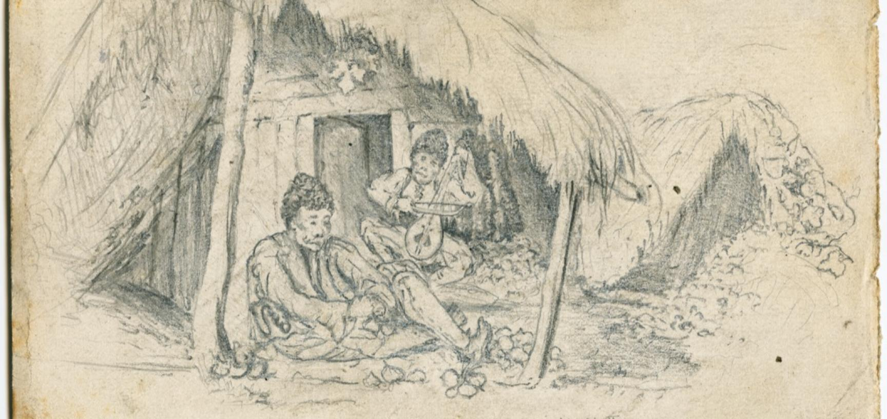 Pencil sketch of two men sitting beneath the porch of a thatched building, identified as Bulgarians at a small Bulgarian settlement in Maksimir Park on the outskirts of Zagreb, Croatia. One of the men is tying bunches of onions, preparing the crop for sal