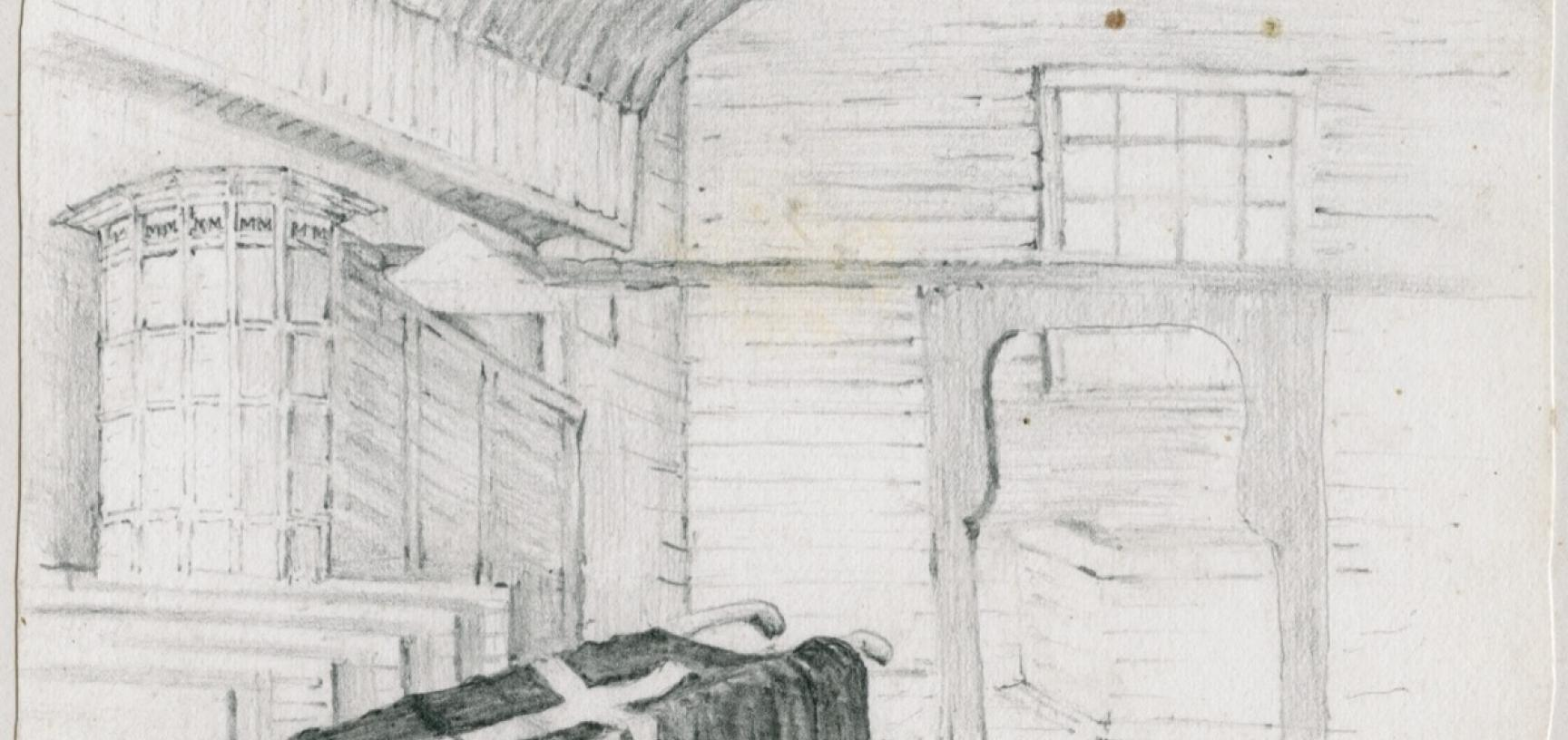 Interior of a disused church at Sodankylä, described by Arthur Evans in his diary: 'The Lapp church is a fit representation of a departed people. The picturesque, weather-stained timber can hardly hold together much longer, & the carved wooden pinnacles w