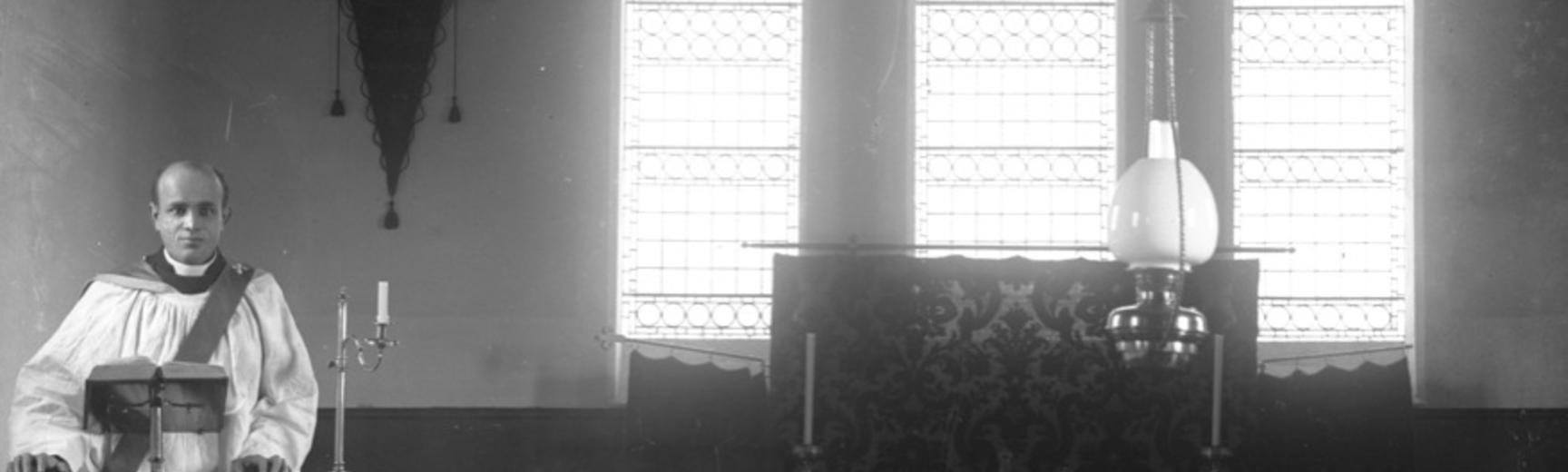 Glass negative showing Harley standing in the pulpit of an unidentified church. Photographer unknown. Circa 1911. (Courtesy Michael Wortley)