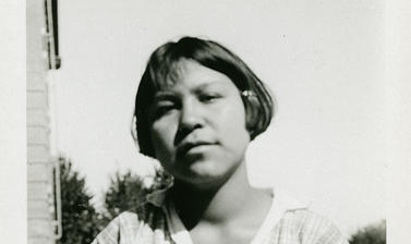 Portrait of Minnie Wilson (later Minnie Croft), a student at the Coqualeetza Indian Residential School, Canada.