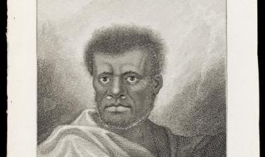 Man of Vanuatu (name unknown), engraved for publication by James Caldwell after an original drawing by William Hodges. (Copyright Pitt Rivers Museum, University of Oxford. Accession Number: 2013.28.142)