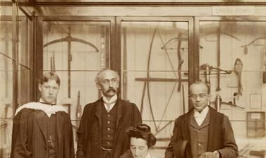 Group portrait of the first three students to receive the University of Oxford's Diploma in Anthropology, including James Arthur Harley (right). Photographer unknown. 1908.