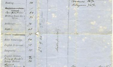 Transcript of half-yearly examination results, dated June 1891, during Harley's studies as a young man at 'Mico Training College', St John's, Antigua. (Courtesy Michael Wortley)