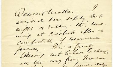 Letter written by John Baddeley to his mother, 20 May 1904, and sent from Baku: 'I arrived here safely last night or rather - this morning at 2 o'clock after a comfortable if wearisome journey.'