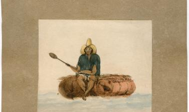 A fisherman from Chile on a raft made of inflated bullock hides. The Seringapatam spent the early years of 1830 and much of 1831 and 1832 sailing up and down the coast of Chile.