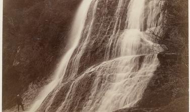 Paparoa Falls near Whenuatere on the Whanganui River. Photograph by Alfred Burton for the Burton Brothers studio (Dunedin). North Island, New Zealand. 18 May 1885.