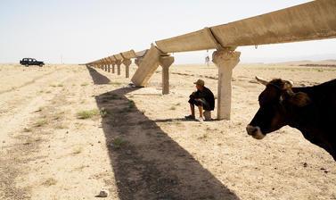The site of a former cotton farming village in south-western Tajikistan. Shaartuz, Tajikistan. Photograph by Carolyn Drake. July 2008.