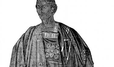 Detail of sketch entitled 'Costume of a King' from page 341 of The Illustrated London News for the week ending Friday 28 November 1846.