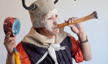 Pema Namgyal dressed as the student Loma from the play 'Nangsa Obum'. Photograph by Patrick Sutherland. Sangnam, Spiti, Himachal Pradesh, India. 2010.