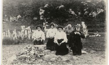 'Pilgrims at Doon Holywell, Co. Donegal' (typed caption). Photograph by Thomas H. Mason. Doon, County Donegal, Ireland. Undated.