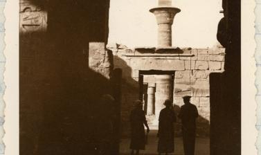 Tourists visiting the Karnak Temple Complex, near Luxor, enter the Temple of Seti II. Photograph by Ellen Ettlinger. 17 March 1935.