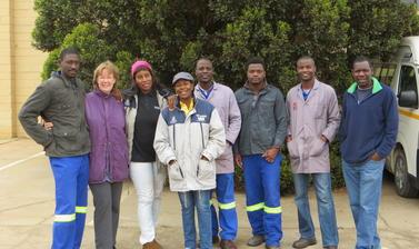 The Oranjemund team  : (L-R) Dawid Kapule, Judith Sealy, Nzila M. Libanda-Mubusisi, Esther Goagoses, Virimuje Kahuure, Eliot Mowa, Henry Nakale and Shadreck Chirikure. Photo by: Ashley Coutu