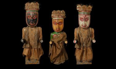 Jagannath (1894.28.1), Subhadra (1894.28.2) and Balabhadra (1894.28.3) after conservation