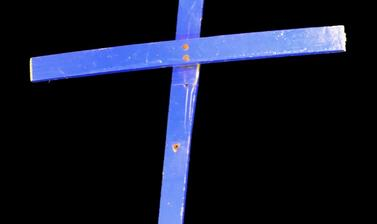 The 'Calais Cross', salvaged from the Orthodox Church of St Michael at the 'Jungle', on loan from the Bishop of Bangor. (Copyright Pitt Rivers Museum, University of Oxford)