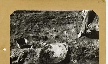 The legs of Margaret Guido (1912-1994) also known as Peggy Piggott, an early twentieth century archaeologist.