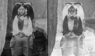 Wife of a lay official in Lhasa dress. Photograph by Rabden Lepcha. 1920–1921.