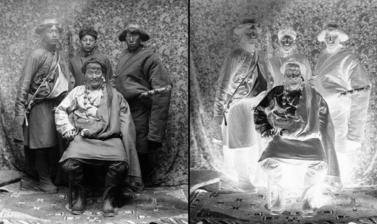Wealthy trader from eastern Tibet (Kham) with servants. Photograph by Rabden Lepcha. 1920–1921. (Copyright Pitt Rivers Museum, University of Oxford. Accession Number: 1998.285.131.1)