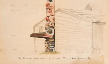 'The Totem-pole standing before the chief's house in Masset, Queen Charlotte Id.' Watercolour painting by Alfred Robinson. 1901. (Copyright Pitt Rivers Museum, University of Oxford. Accession Number: 2004.144.1)