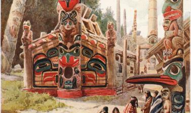 'Totem Poles', an imaginary view of a Haida village, featuring Star House Pole copied from the published image. Illustration by Louis Fairfax Muckley. Circa 1909.