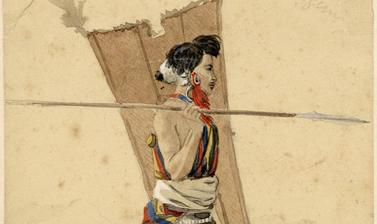'Angami of Kigwema' (handwritten caption). Portrait of an Angami Naga man named 'Kasakre', depicted walking, holding two spears and a shield. Watercolour painting by Robert Gosset Woodthorpe. The original handwritten annotation by Woodthorpe indicates tha