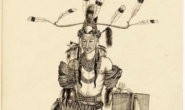 'Soibang, Vangam of Chopnu (Bor Mutan)' (handwritten caption). Ink drawing by Robert Gosset Woodthorpe. Dated 1875.