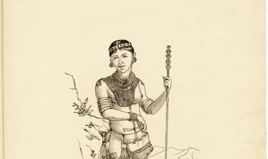 'Phemi – wife of Soibang' (handwritten caption). Ink drawing by Robert Gosset Woodthorpe. 1875.