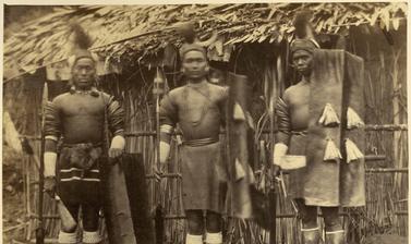 'Konyak Nagas' (handwritten caption). Photographer unknown. Naga Hills District of Assam (now in Nagaland), India. 1873–1874.