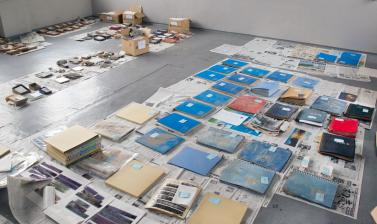 Material drying in the RD3 Project's workspace. (Copyright RD3 Project/Rikuzentakata City Museum)