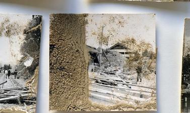 Prints salvaged from Rikuzentakata City Museum after the tsunami.