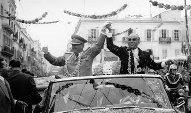 Tunisia, 1961. Presidents Tito and Bourguiba on the way from the harbour to the residence in Tunisia.