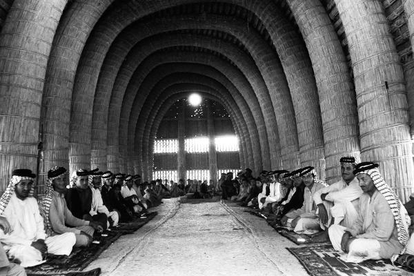 Interior of mudhif (guesthouse), Iraq, by Wilfred Thesiger, 1958. PRM 2004.130.23229.